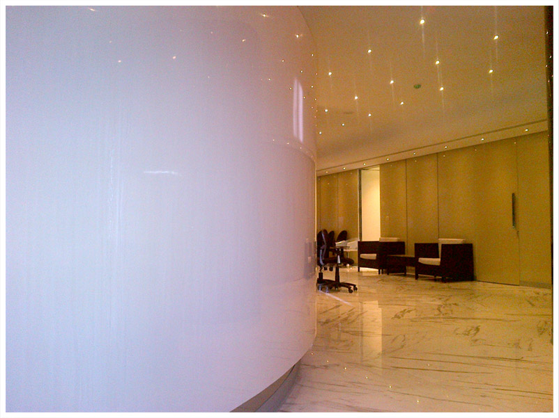 Solid Surface Wall Cladding : Wall cladding using solyx solid surface material for